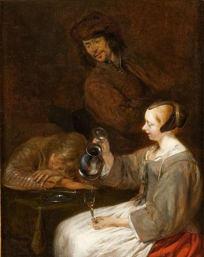 Gerard_ter_Borch 1650 ca Jeune_Hollandaise_versant_à_boire Musee Fabre Montpellier