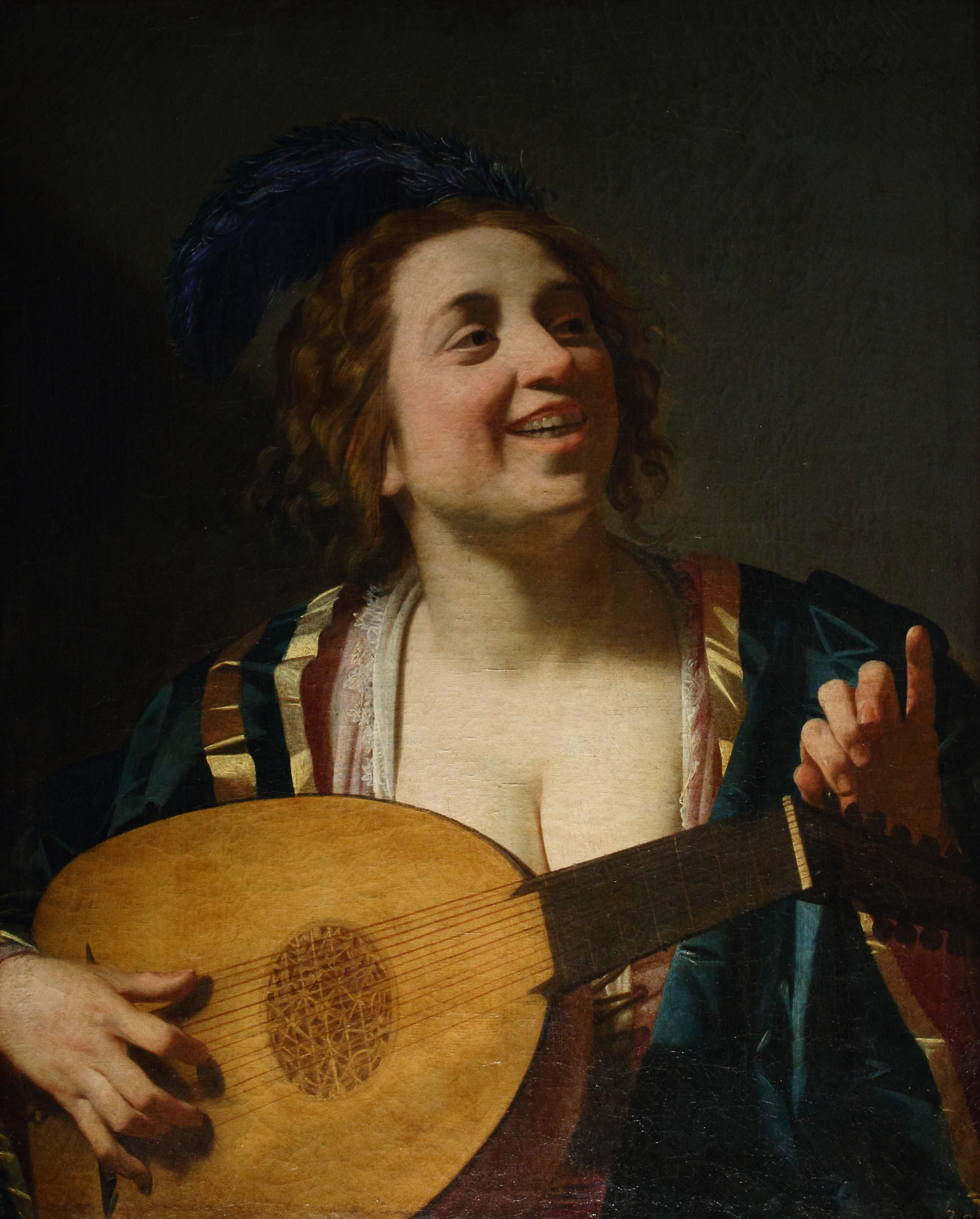 Honthorst 1624 Femme accordant son luth Louvre