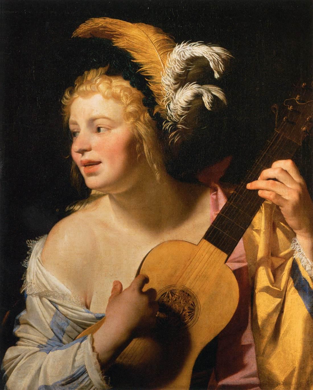 Honthorst 1624 La joueuse de guitare Louvre