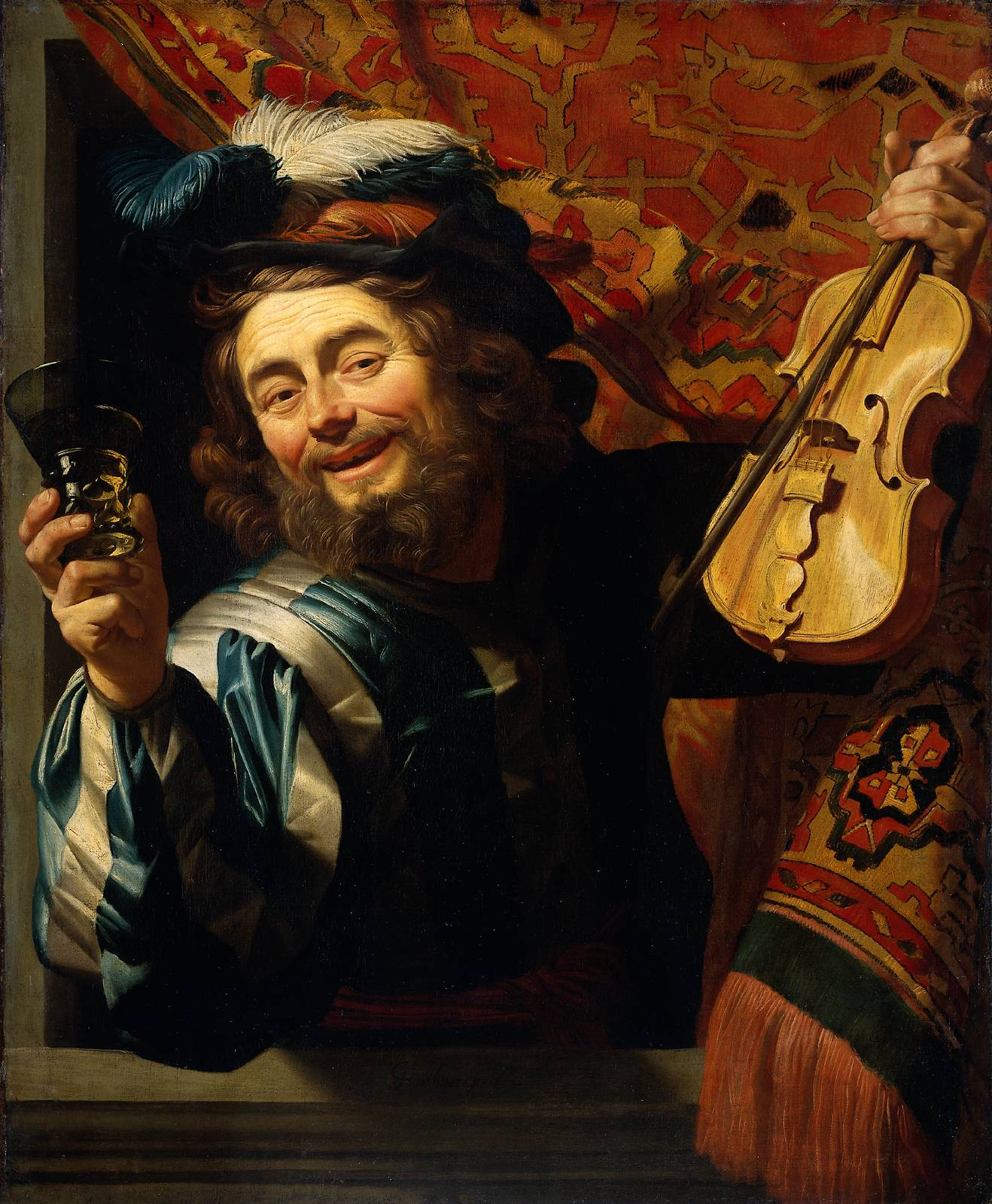 Honthosrt 1623 Merry violonist with a glass Rikjsmuseum 107 X 88