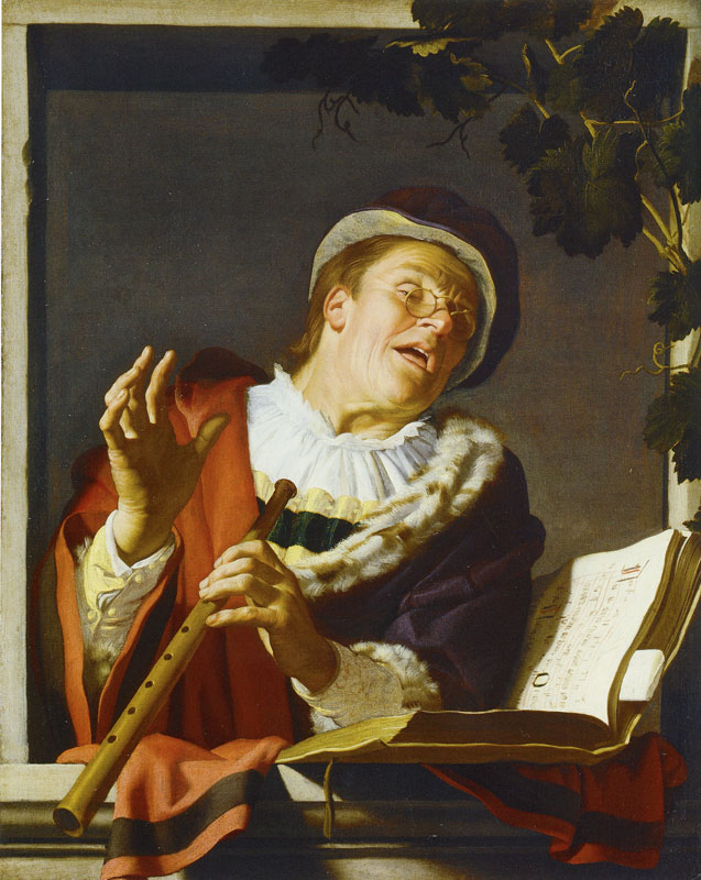 Honthosrt 1623 Singing Elder with a Flute Staatliches Museum, Schwerin 107.5 x 85.5 cm