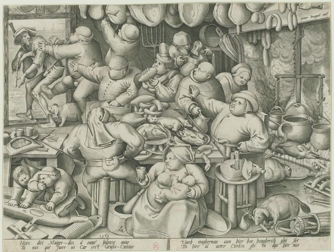 La_cuisine_grasse Brueghel 1563 gravure de Van Der Heyden Gallica