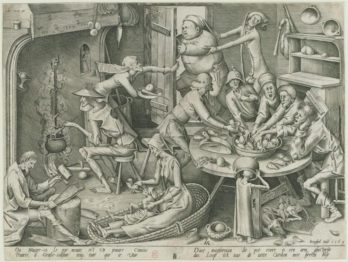 La_cuisine_maigre Brueghel 1563 gravure de Van Der Heyden Gallica