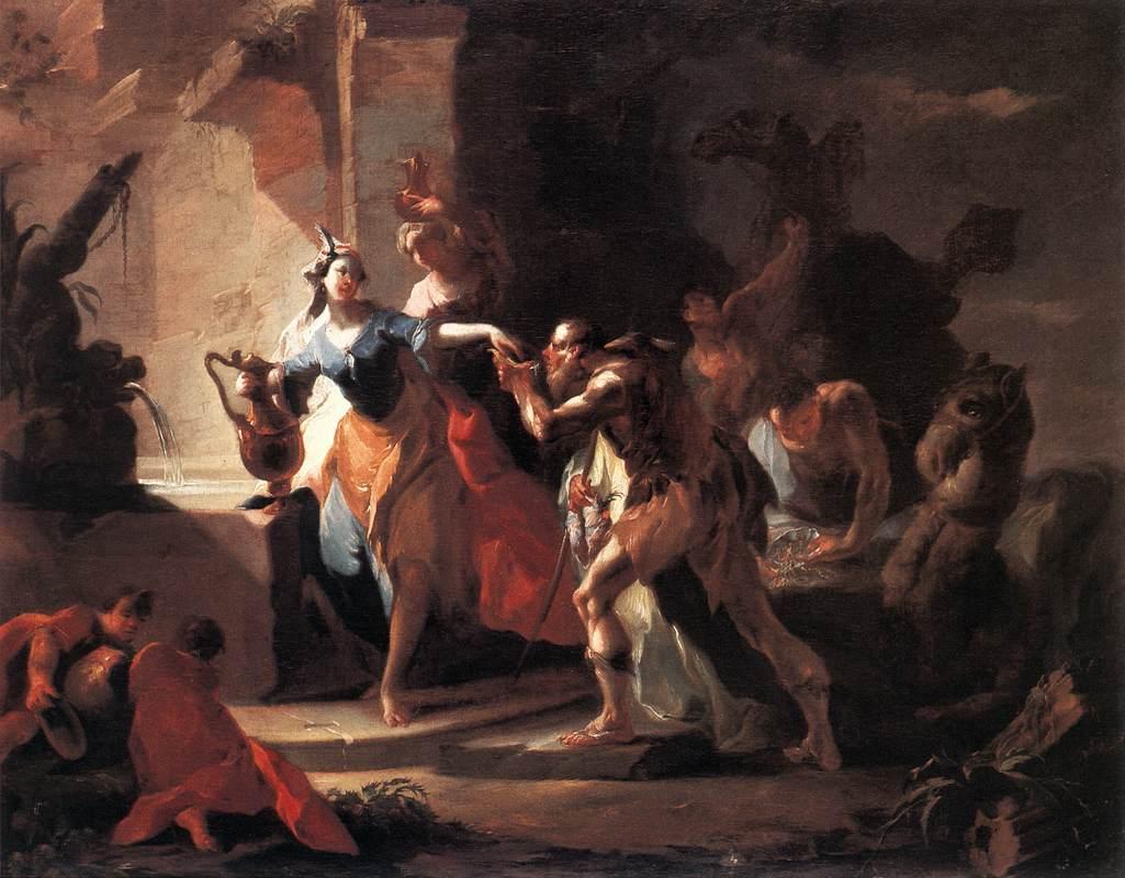 MAULBERTSCH, Franz Anton 1745-50 Rebecca and Eliezer Szepmuveszeti Muzeum, Budapest