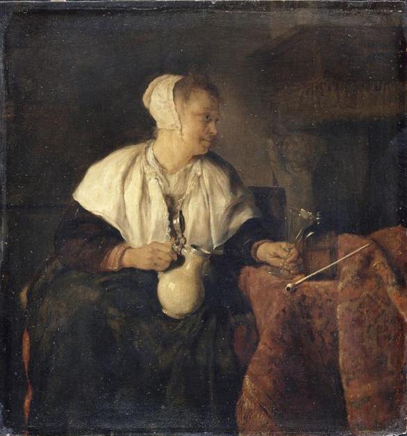 Metsu 1655-57 La Riboteuse ou Buveuse de vin Louvre