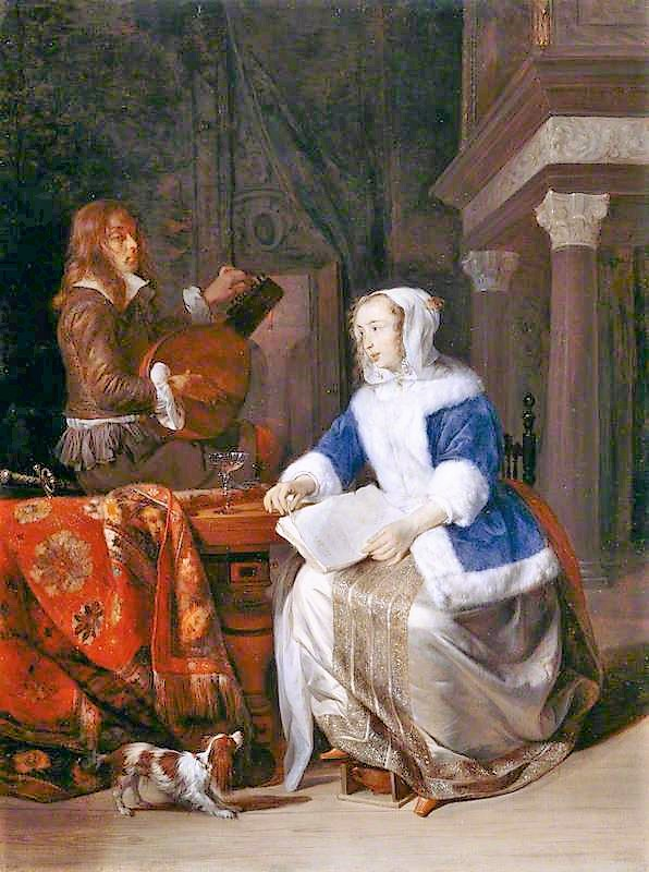 Metsu, Gabriel, 1629-1667; The Duet ('Le corset bleu')