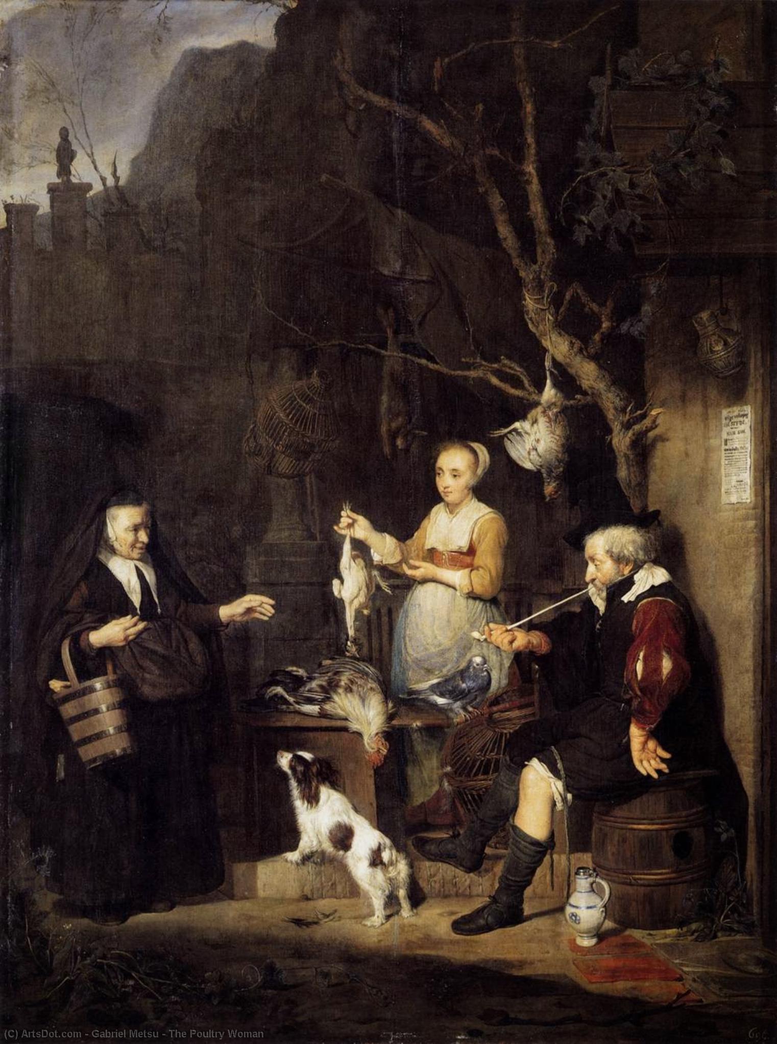 Metsu 1662 Jeune femme vendant de la volaille Gemaldegalerie Alte Meister Dresde