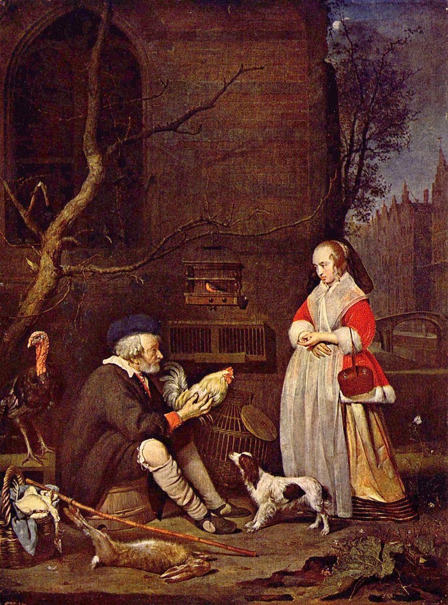 Metsu 1662 Vieil homme vendant de la volaille Gemaldegalerie Alte Meister Dresde