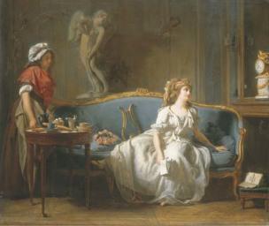 Michel Garnier 1793 La jeune femme eploree ou l'attente 55,5 x 46,5