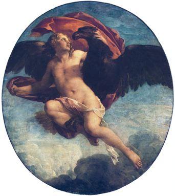 Natoire 1731 ca AA L'enlevement de Ganymede par Jupiter Troyes, Musee des Beaux-Arts