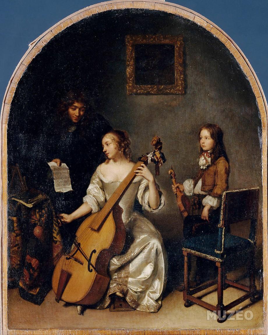 Netscher la_lecon_de_basse_de_viole 1664 Louvre
