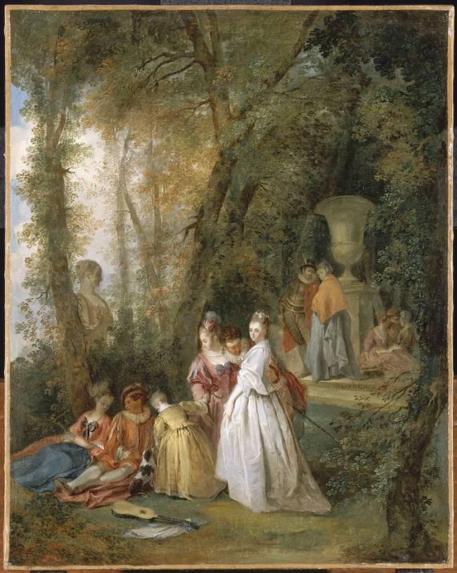 OLLIVIER Michel Barthelemy 1750 ca fete_galante_dans_un_parc Musee de Valenciennes