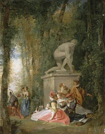 OLLIVIER Michel Barthelemy 1750 ca reunion galante_dans_un_parc Musee de Valenciennes