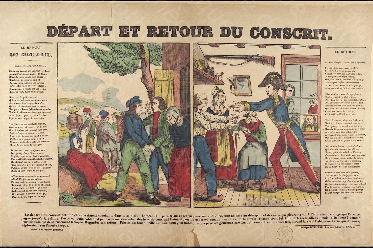 Pellerin 1843 Le depart et le retour du conscrit Bibliotheque municipale de Valenciennes
