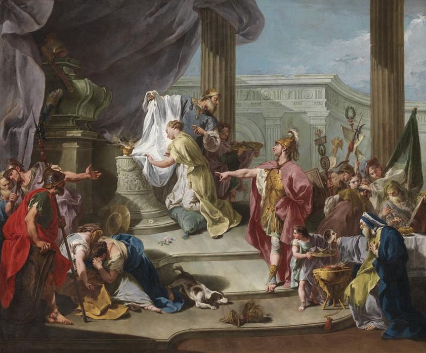 Pittoni 1737 ca Sacrifice de Polyxene Staatsgalerie Wurzburg,