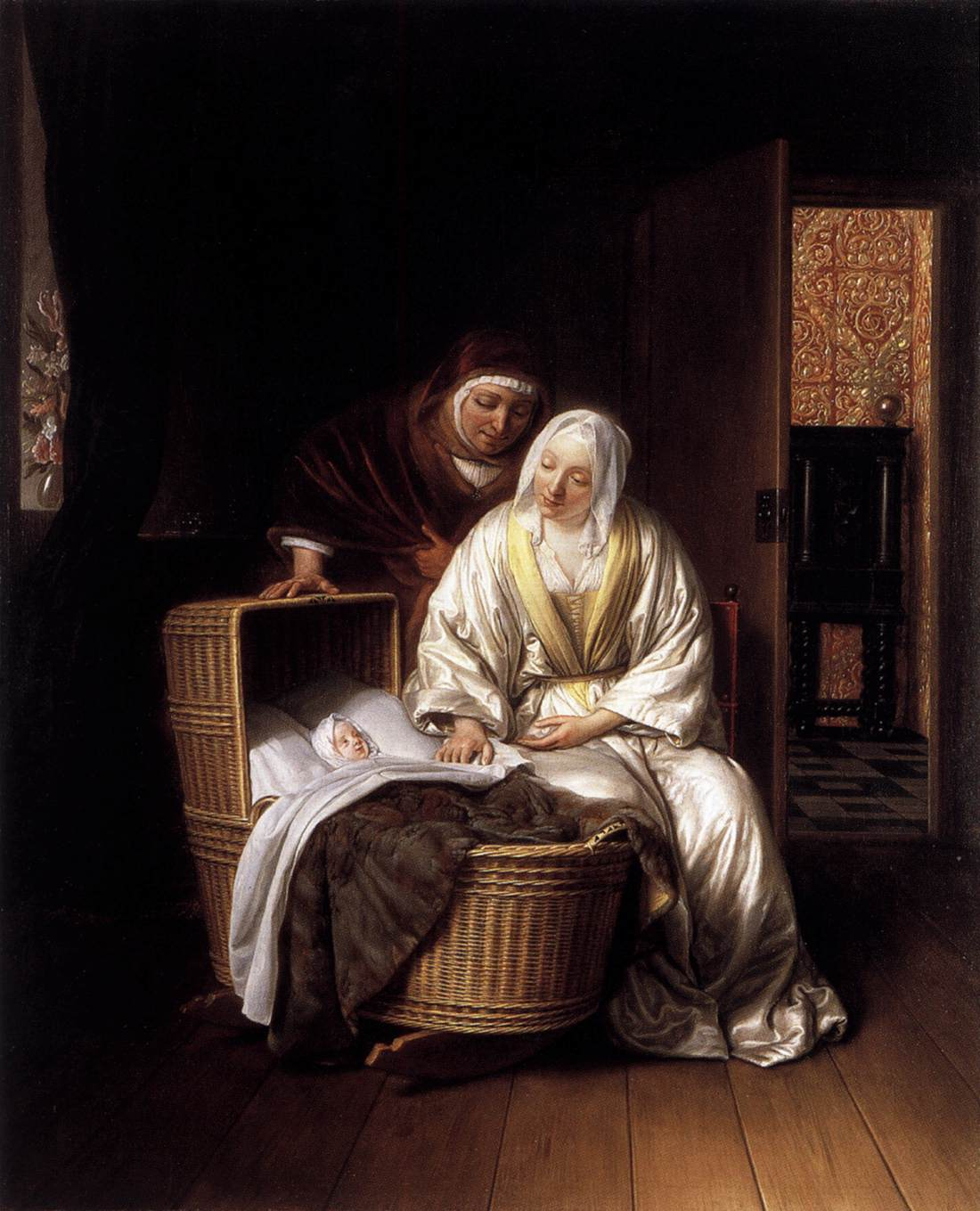 Samuel van Hoogstraten Two_Women_by_a_Cradle_The Quadrangle , Springfield Museum of Arts WGA11722