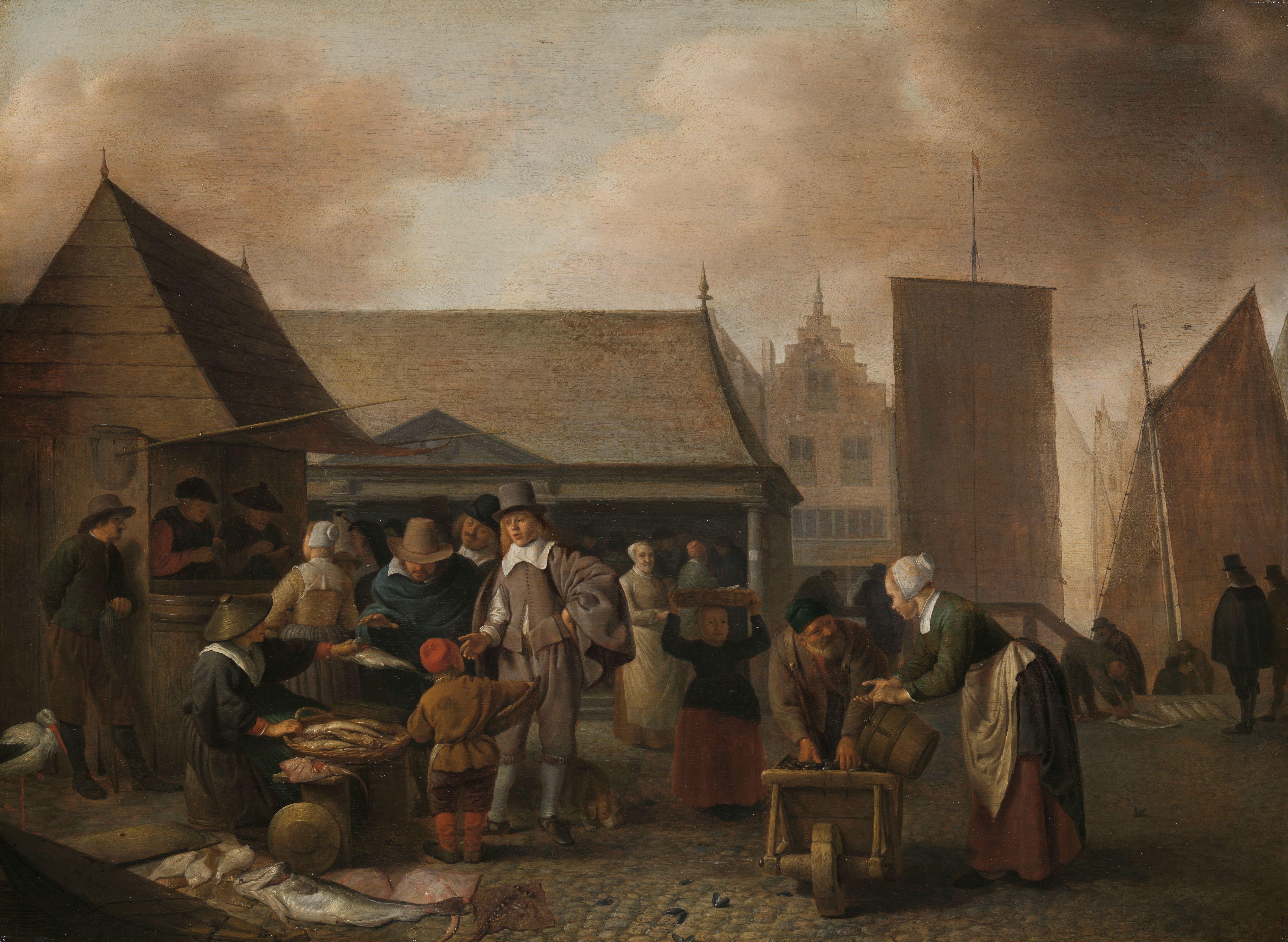 Sorgh 1650-70 Marche aux poissons Rijksmuseum 47,5 cm × 65