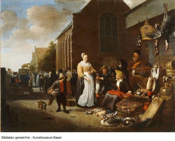 Sorgh 1650-70 Marche aux volailles a Rotterdam Musee BA de Bale 49,5 x 65 cm