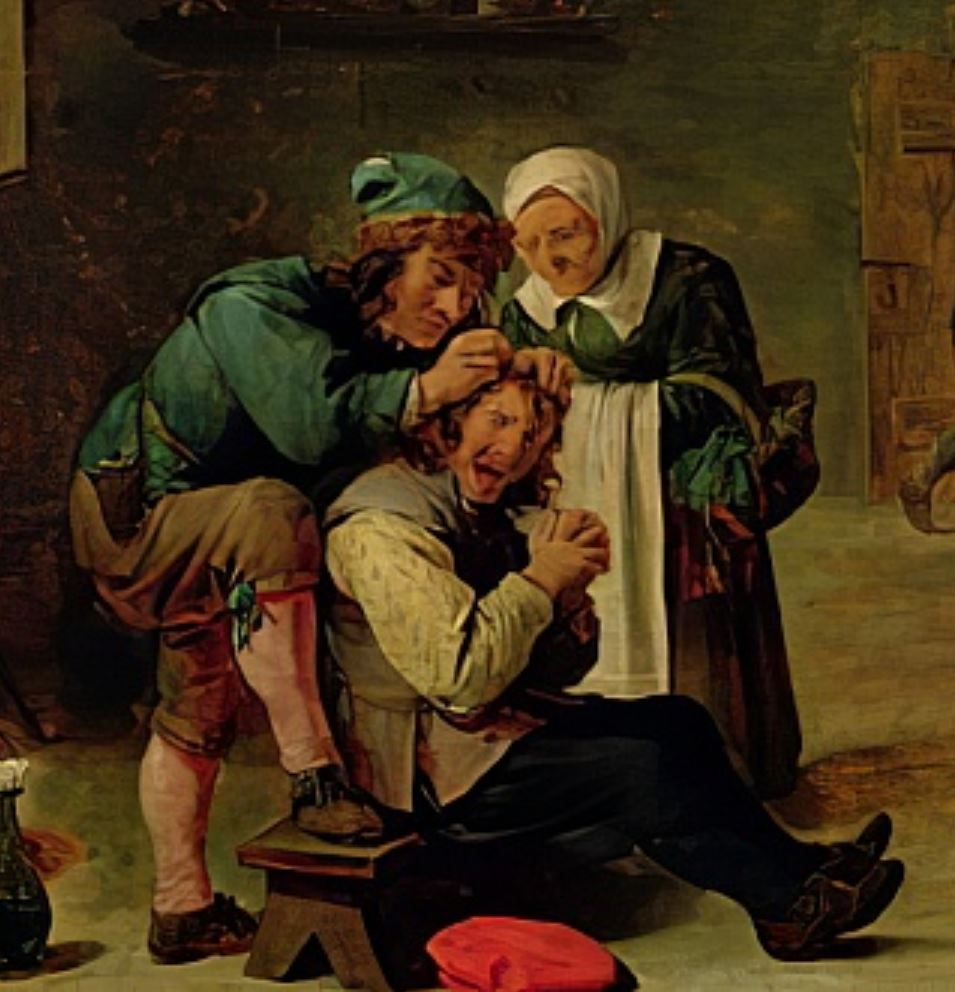 Teniers le Jeune, 1650 ca Operation Chirurgicale, Prado, Madrid (detail)