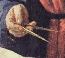VERMEER Le geographe 1668-69 Stadelsches Kunstinstitut, Francfort-sur-le-Main detail compas