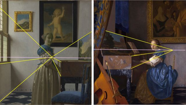 Vermeer 1670-1672 Jeune femme au virginal schema 1