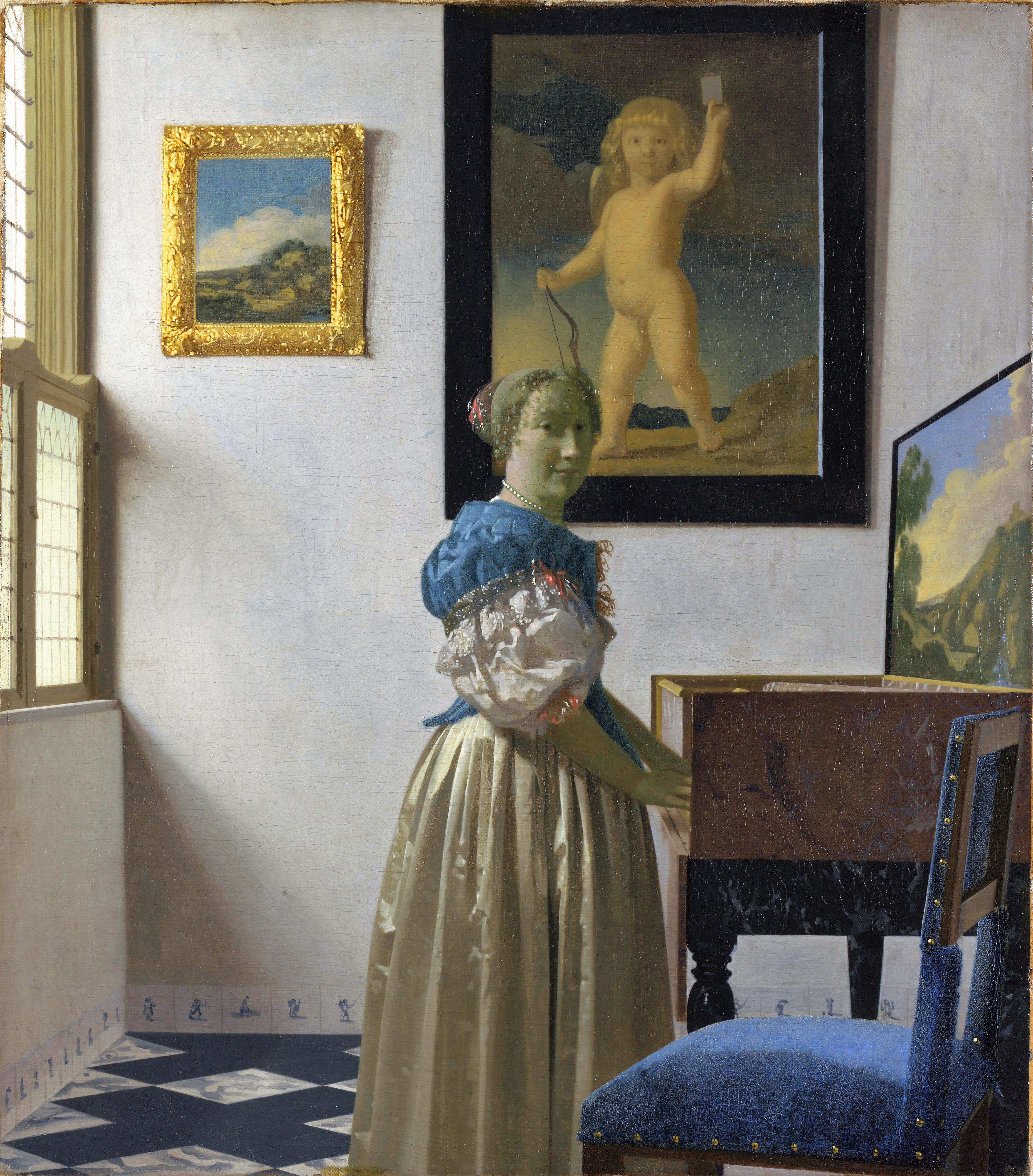 Vermeer 1670-1672 Jeune femme debout au virginal National Gallery