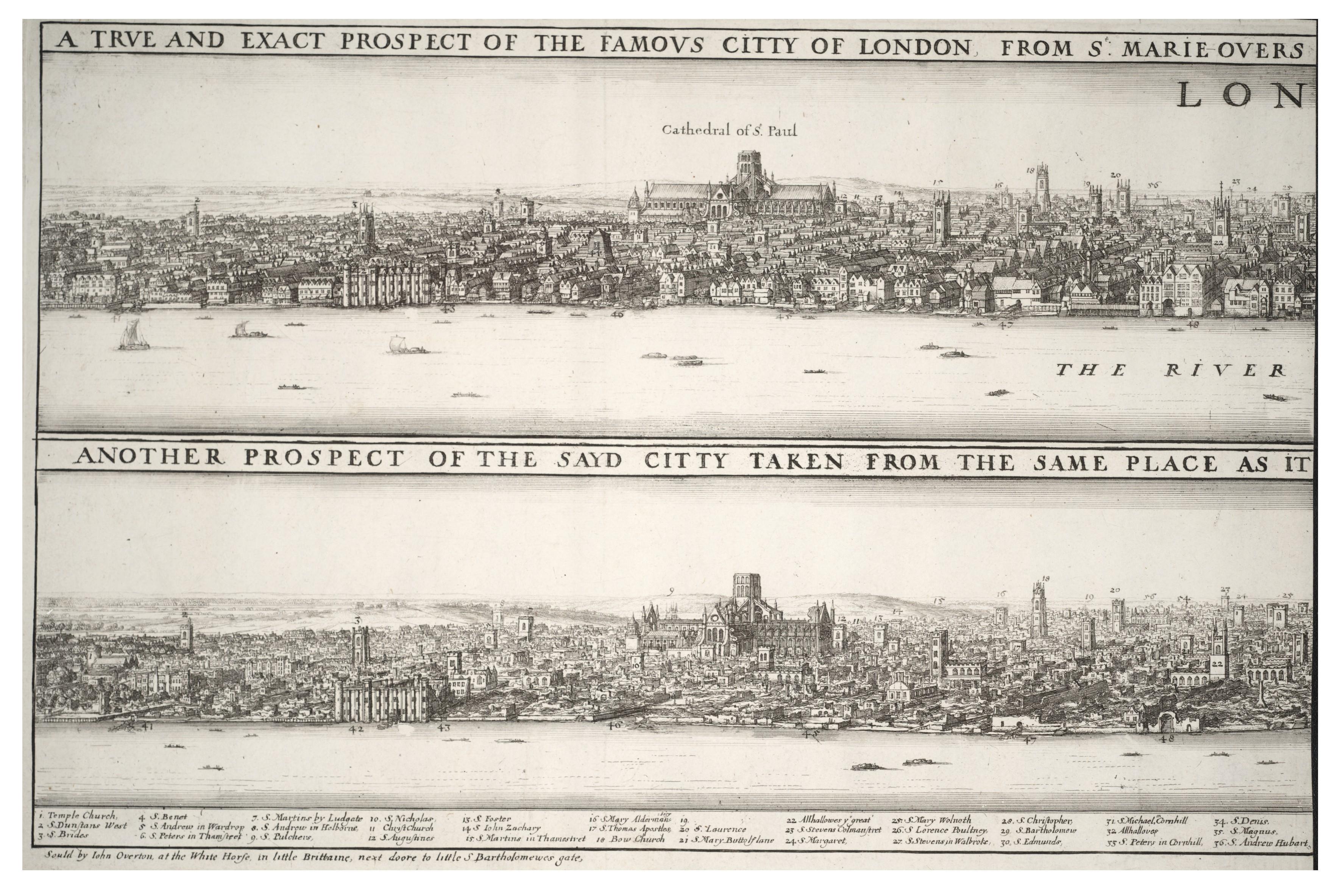 Wenceslas Hollar 1666 A Londres avant et après le Grand Incendie