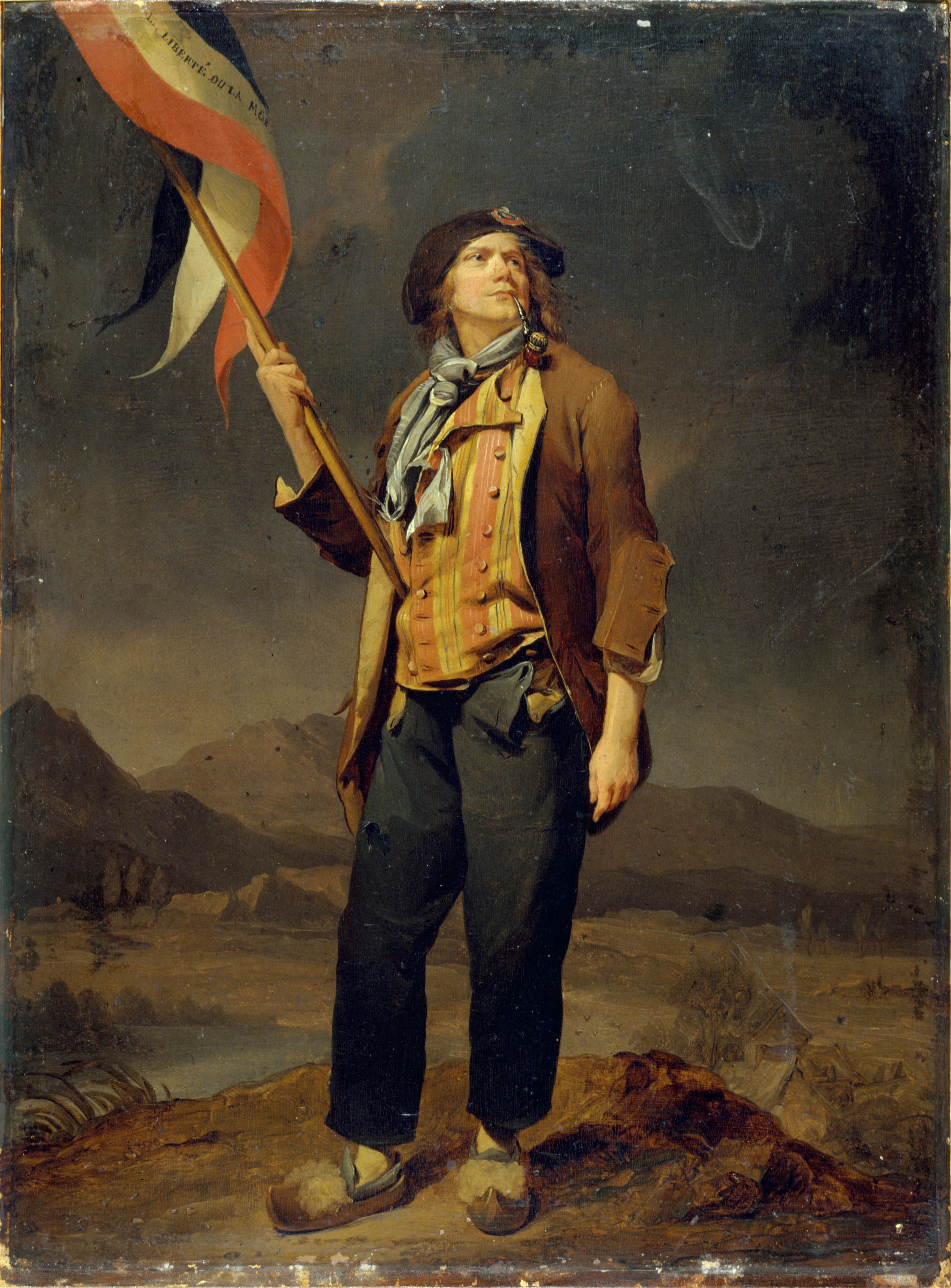 Le chanteur Simon Chenard en costume de sans-culotte, portant un drapeau à la fête de la liberté de la Savoie, le 14 octobre 1792