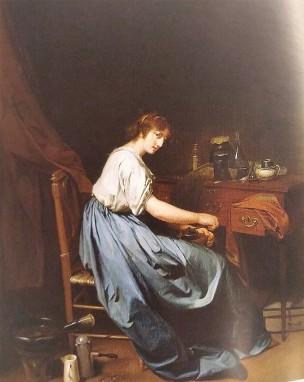 boilly 1797-98 Jeune femme en train de moudre du cafe