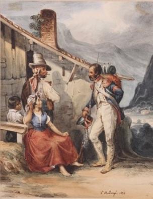 hippolyte-bellange 1828 Ier Empire - Soldat de la Grande Armee en conversation avec un couple d'Espagnols,