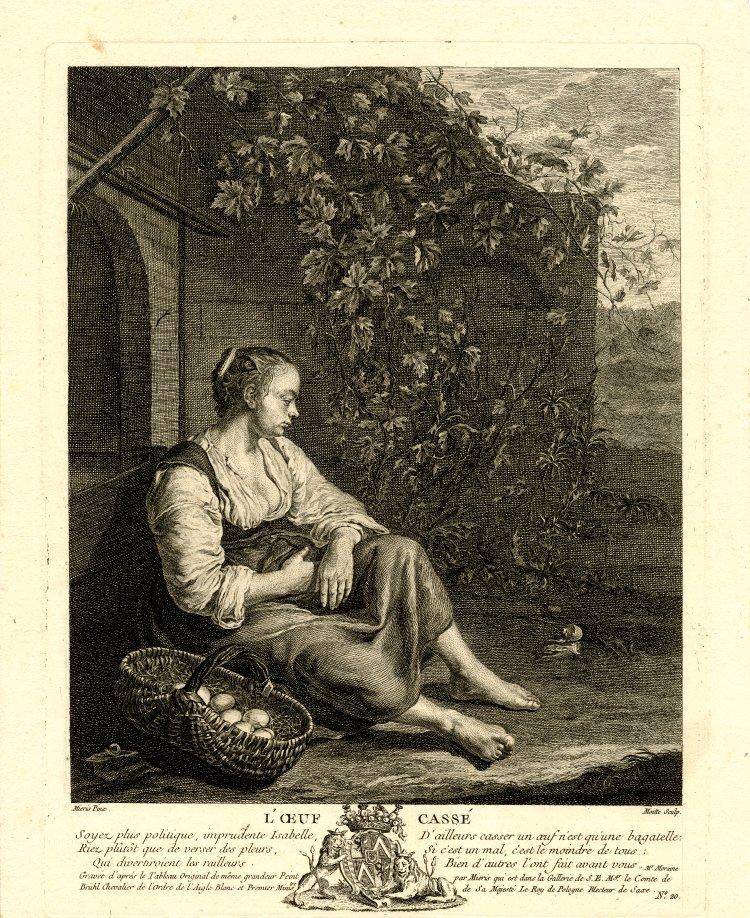 1754 Oeuf casse gravure de Pierre Etienne Moitte d'apres Van Mieris le Vieux Bristish museum