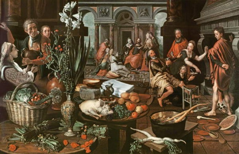 Aertsen 1553 Le Christ dans la maison de Marthe et Marie, Museum Boijmans Van Beuningen, Rotterdam.