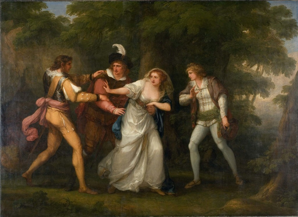 Angelica Kauffman 1789 fev Valentine, Proteus, Sylvia and Giulia in the Forest (Scene from Two Gentlemen of Verona Act V, Scene IV) Davis Museum, Wellesley