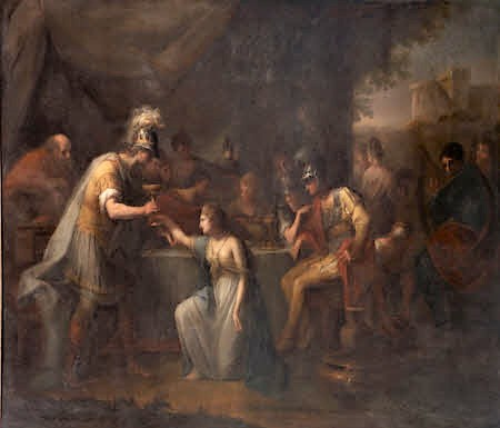 Vortigern, King of Britain, enamoured with Rowena at the Banquet of Hengist, the Saxon General by Angelica Kauffman RA (Chur 1741 ¿ Rome 1807)