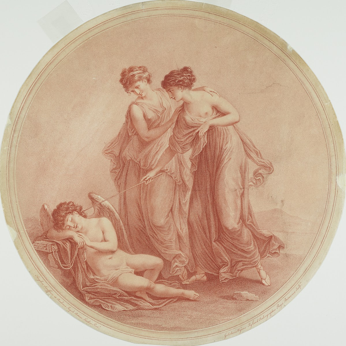 Angelica Kauffmann 1776 Les Graces reveillant l'Amour gravure de William Wynne Ryland