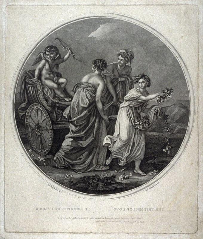 Angelica Kauffmann 1777 6 Triumph der Liebe gravure de Gabriel Scorodomoff inversee