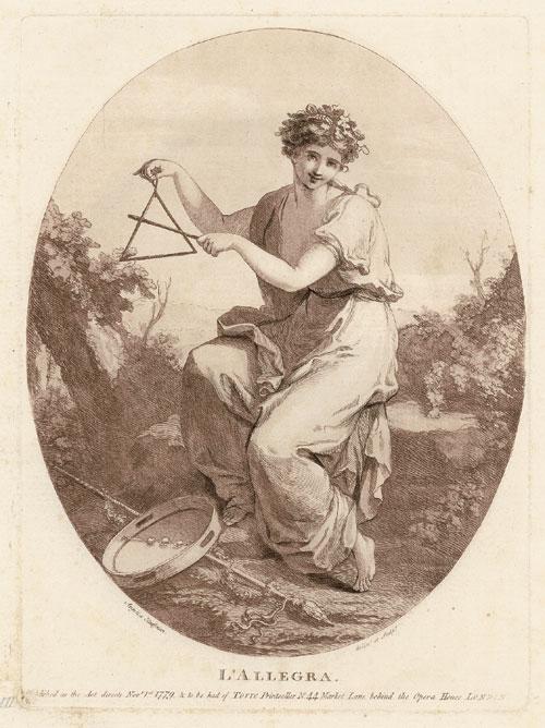 Angelica Kauffmann 1779 L'Allegra gravure de Bartolozzi da pres un dessin