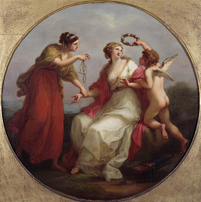 Angelica Kauffmann 1780b ca La Beaute tentee par l'Amour conseillee par la prudence Burghley House Collection, Lincolnshire,