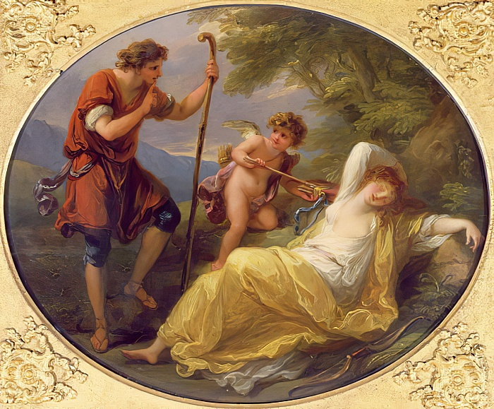 Angelica Kauffmann 1780y ca Une nymphe observee par un berger Victoria and Albert Museum