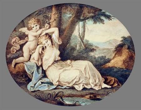 Angelica Kauffmann 1784 Cupid binding Aglaia gravure de Thomas Burke