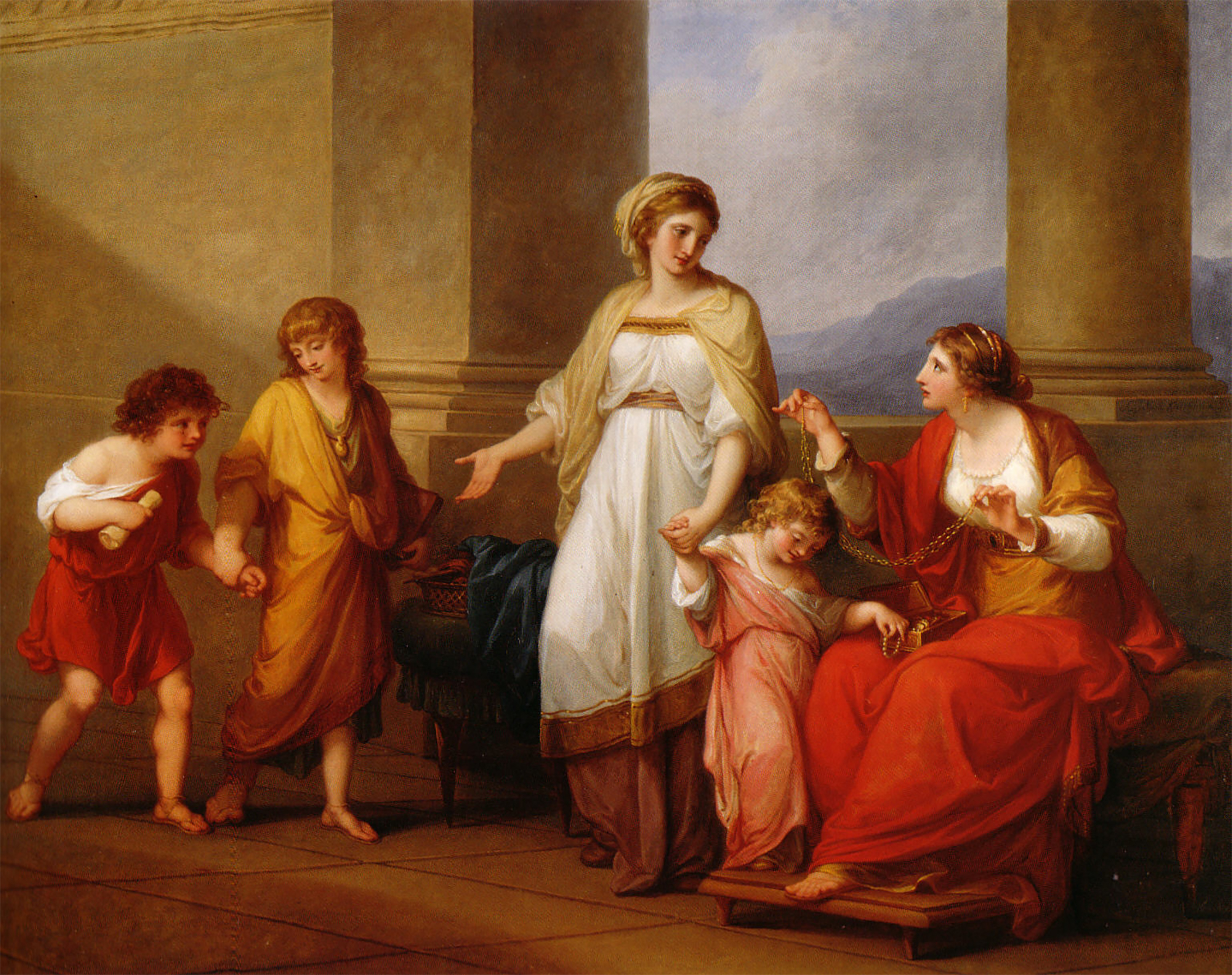 Angelica Kauffmann 1785 Bowles Cornelia, Mother of Gracchi, Pointing to Children as Her Treasures 101 x 127 cm, Richmond, Virginia Museum of Fine Arts .