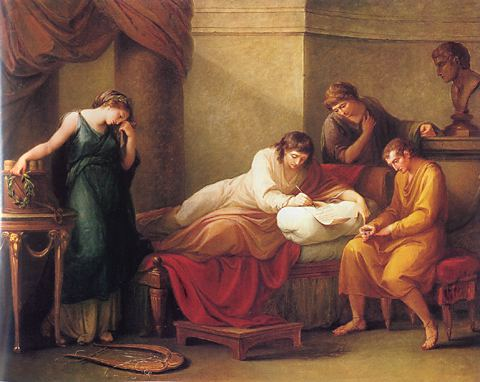 Angelica Kauffmann 1785 Bowles Virgil Writing his own Epitaph at Brundisium 99 x 126 cm, Peter Walsh Collection