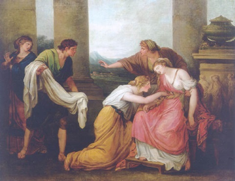 Angelica Kauffmann 1785 Maria Carolina of Naples Julia, femme de Pompee, s'evanouit en voyant son manteau tache de sang Schlossmuseum Weimar