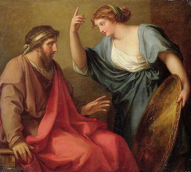 Angelica Kauffmann 1794b Egeria Handing Numa Pompilius His Shield coll priv