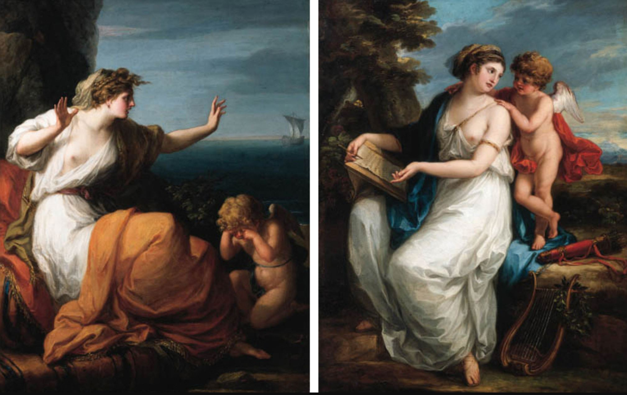 Angelica Kauffmann Ariadne abandoned by Theseus; and Sappho inspired by love coll priv
