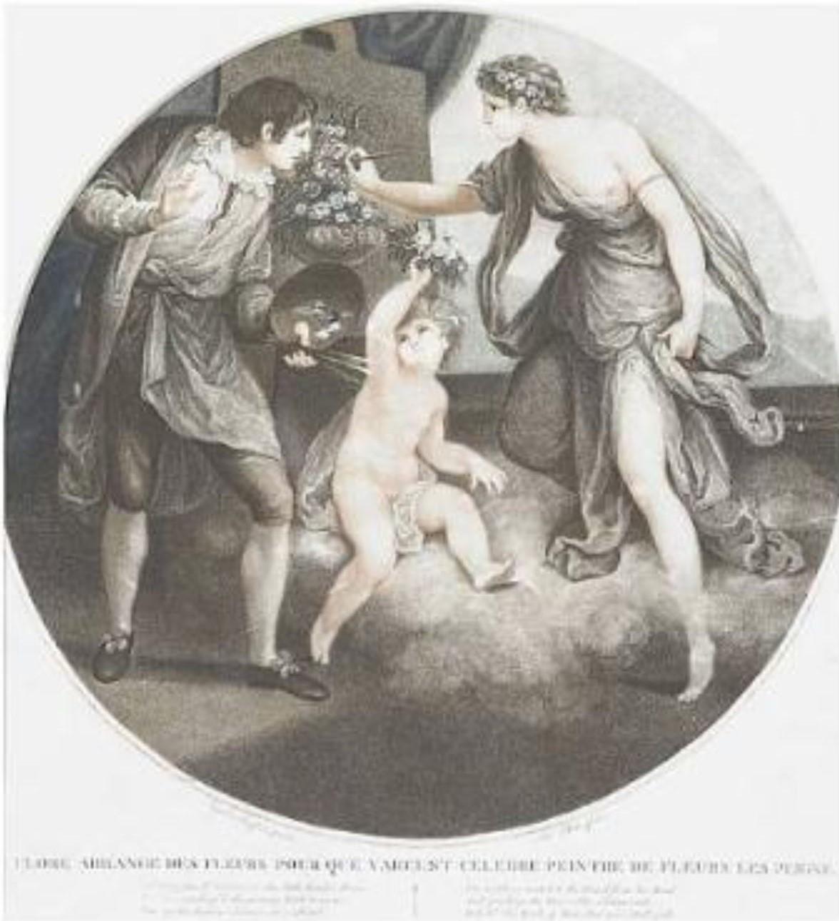 Angelica Kaufmann 1782 pour Bowles Flora montrant a un paysan comment eindre des roses gravure de Thomas Burke 1784