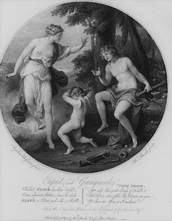 Angelica Kaufmann 1782 pour Bowles Ganymede se plaignant a Venus des tricheries de Cupidon gravure de Thomas Burke 1784