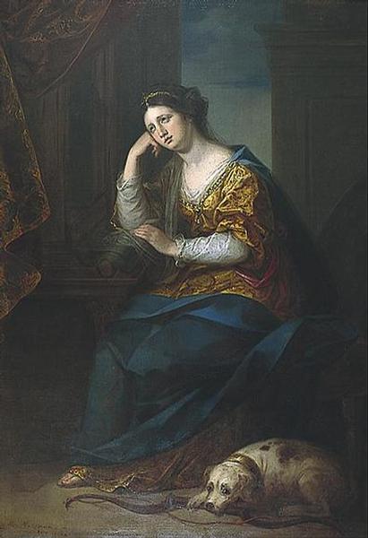 Angelika Kauffmann 1764 Penelope et son chien pour Bowring Brighton Art Museum
