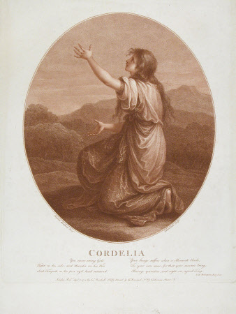 Cordelia from King Lear by William Shakespeare (after Angelica Kauffman RA)by Francesco Bartolozzi (Florence 1727 ¿ Lisbon 1815)