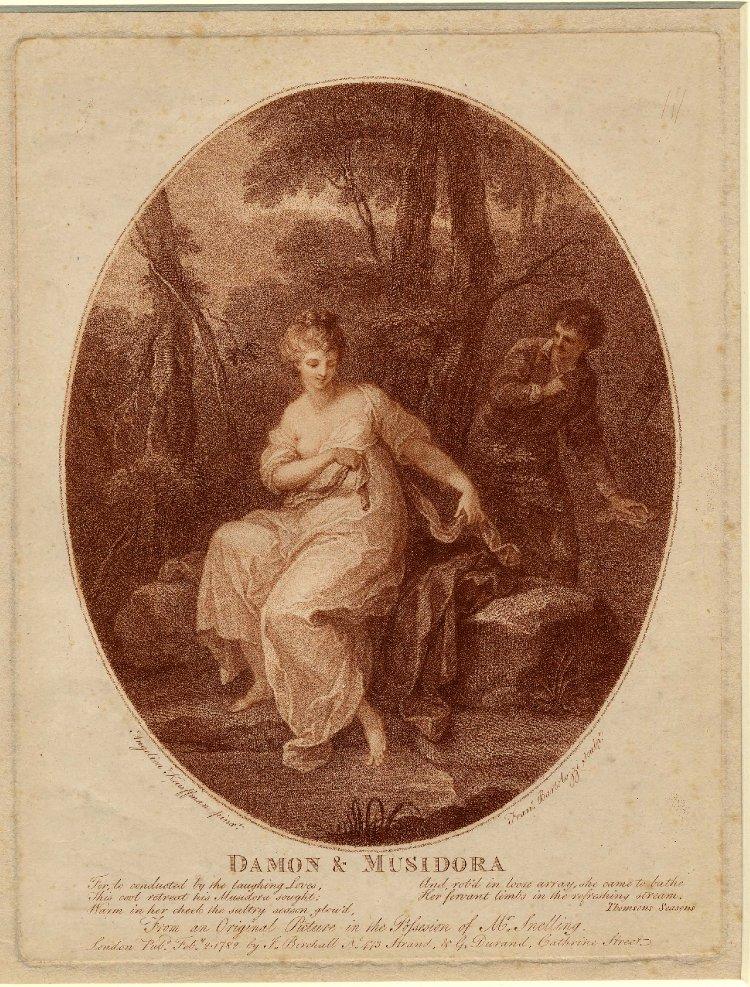 Angelika Kauffmann 1782 gravure de Bartolozzi Damon Musidora